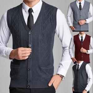 Mens-Sleeveless-Knitted-Sweater-Button-Down-Cardigan-Vest-Waistcoat-Coat-Outwear