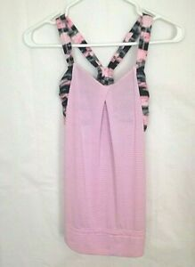 d6967eae736 Details about LuluLemon Athletica Tank Top And Bra Combo Pink And White  Stripes Women's Size 2