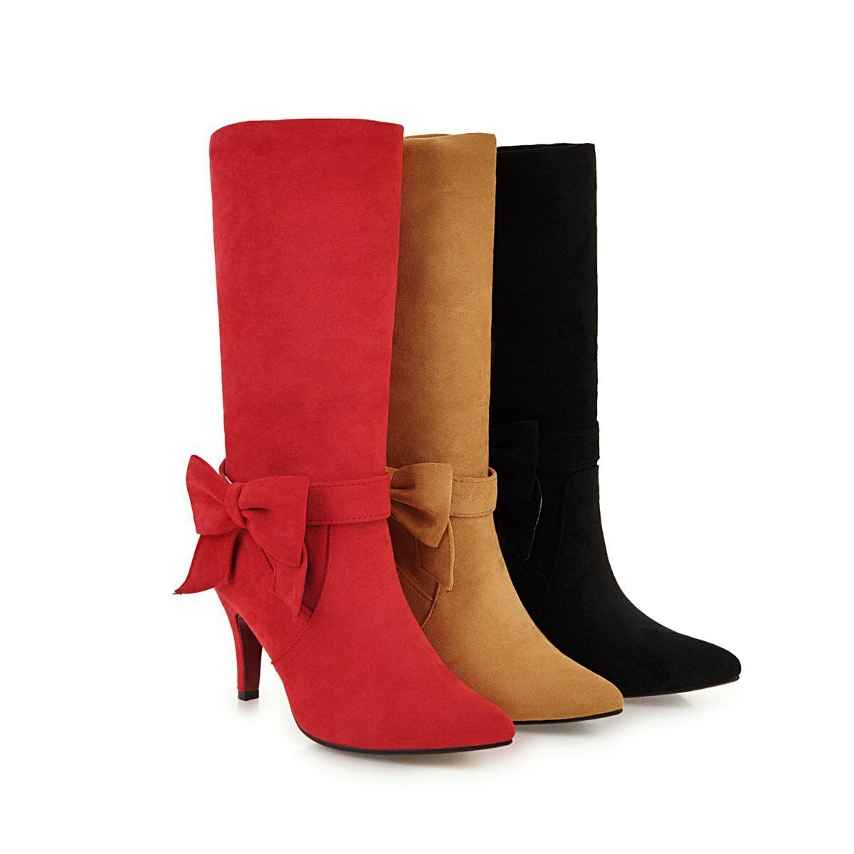 Women's Suede Fabric Pointed shoes Bowknot High Heel Mid-Calf Boots US Sz 412.5