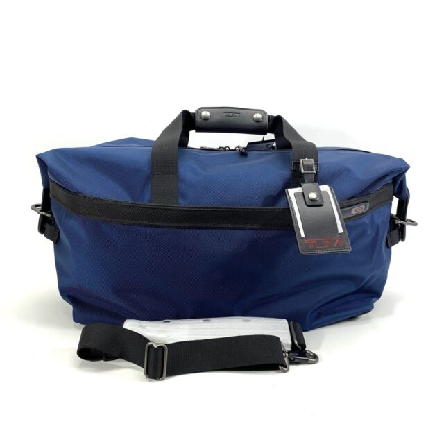 Tumi Duffel Bag Small Soft Travel Satchel Baltic Blue With Black Leather Trim