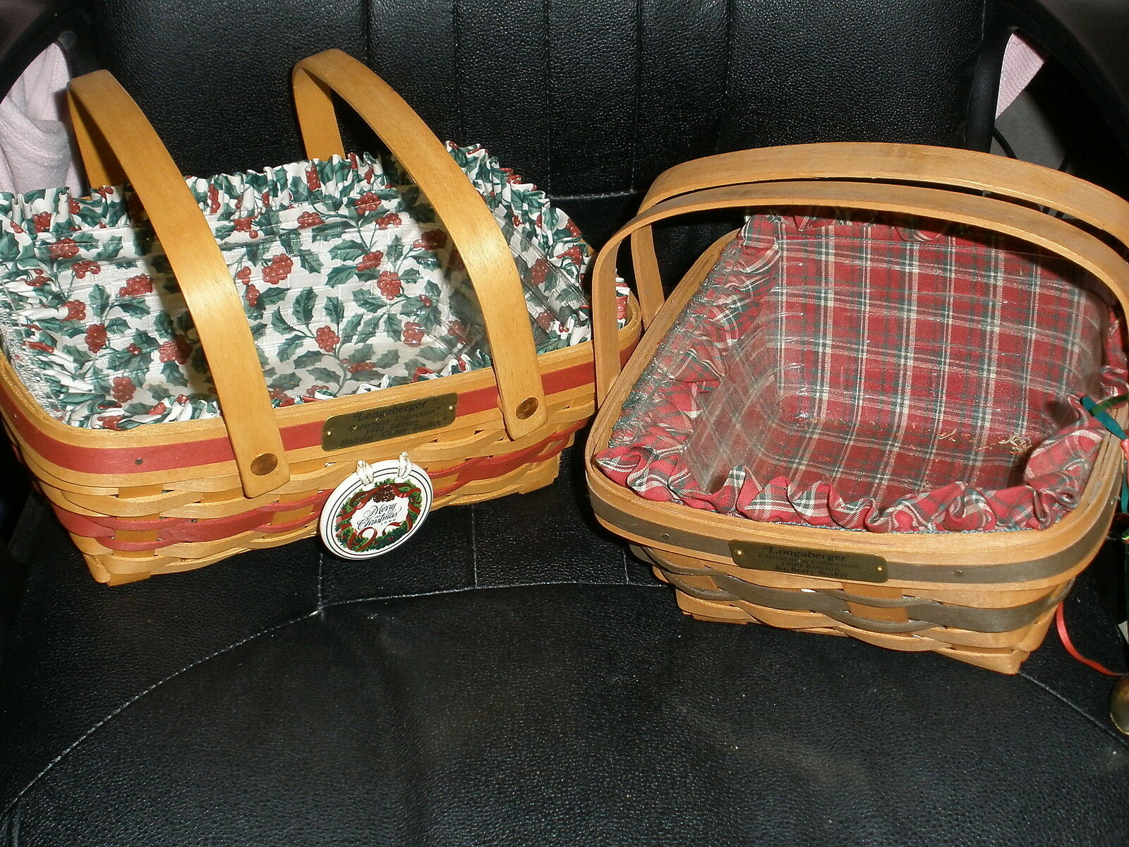 2 Christmas Longaberger basket combos 1993 Bayberry & 1996 Holiday Cheer