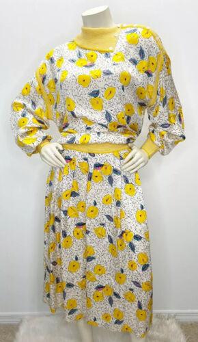 VTG 50s/60s Goldworm Yellow Floral Blouse Skirt Se