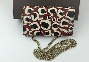 3cffa1eb76c553 New Gucci Leopard Leather WOC Wallet on Chain Crossbody Clutch