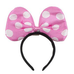 Minnie Mouse Ears Led Light Up Polka Dot Headband Bow Party Favor