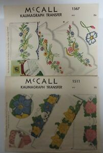 Vintage-50-039-s-McCall-Lot-Kaumagraph-Transfer-Patterns-Floral-Embroidery-amp-Cutwork