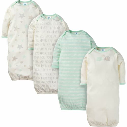 Gerber Baby and Infant 4-Pack Neutral Elephants and Stars Sleeping Gowns
