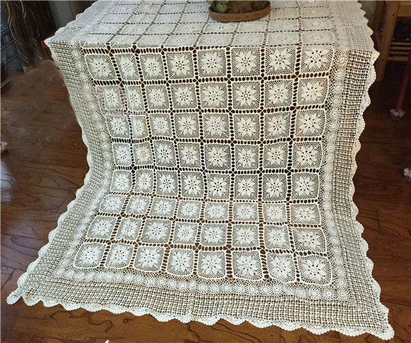 Elegant Hand Crochet 3D Flower Bed Cover Bedspread Coverlet Table Cloth blanc XL