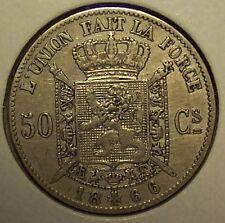 1866 BELGIUM 50 CENTIMES - DES BELGES - KM#26