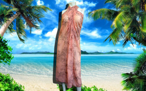 GOTTEX coral FLORAL SKIRT SARONG-BATHINGSUIT COVER-UP 60 x 64 $148.00 WRAP