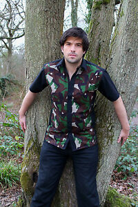 Mens black Camoflage Pin ups Metal 50s lounge diner s/s shirt Gothic Rockabilly
