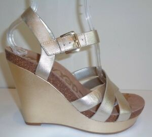 f76466bf7 Sam Edelman Size 6 M NELSON Jute Gold Leather Wedge Sandals New ...