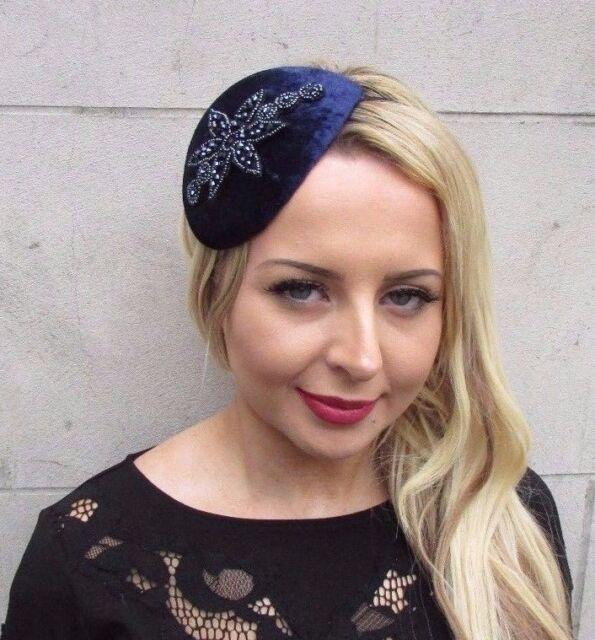Navy Blue Embellished Velvet Fascinator Teardrop Races Wedding Headband Hat  3369 6dd6294b310