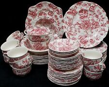 JOHNSON BROTHERS china ENGLISH CHIPPENDALE Pink/Red 65 Piece Set dinner/soup/cup