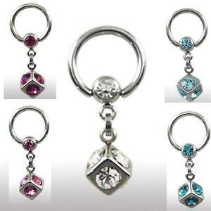 Piercingschmuck  Stahl Ring mit 5mm Würfel Kristalle Intim PIERCING Schmuck Ohr ...