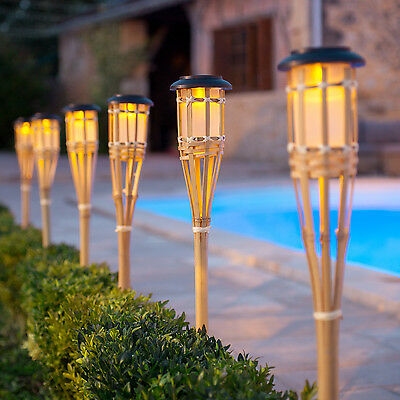 Pair Of Solar Powered Outdoor Bamboo Torch LED Garden Party Border Stake Lights