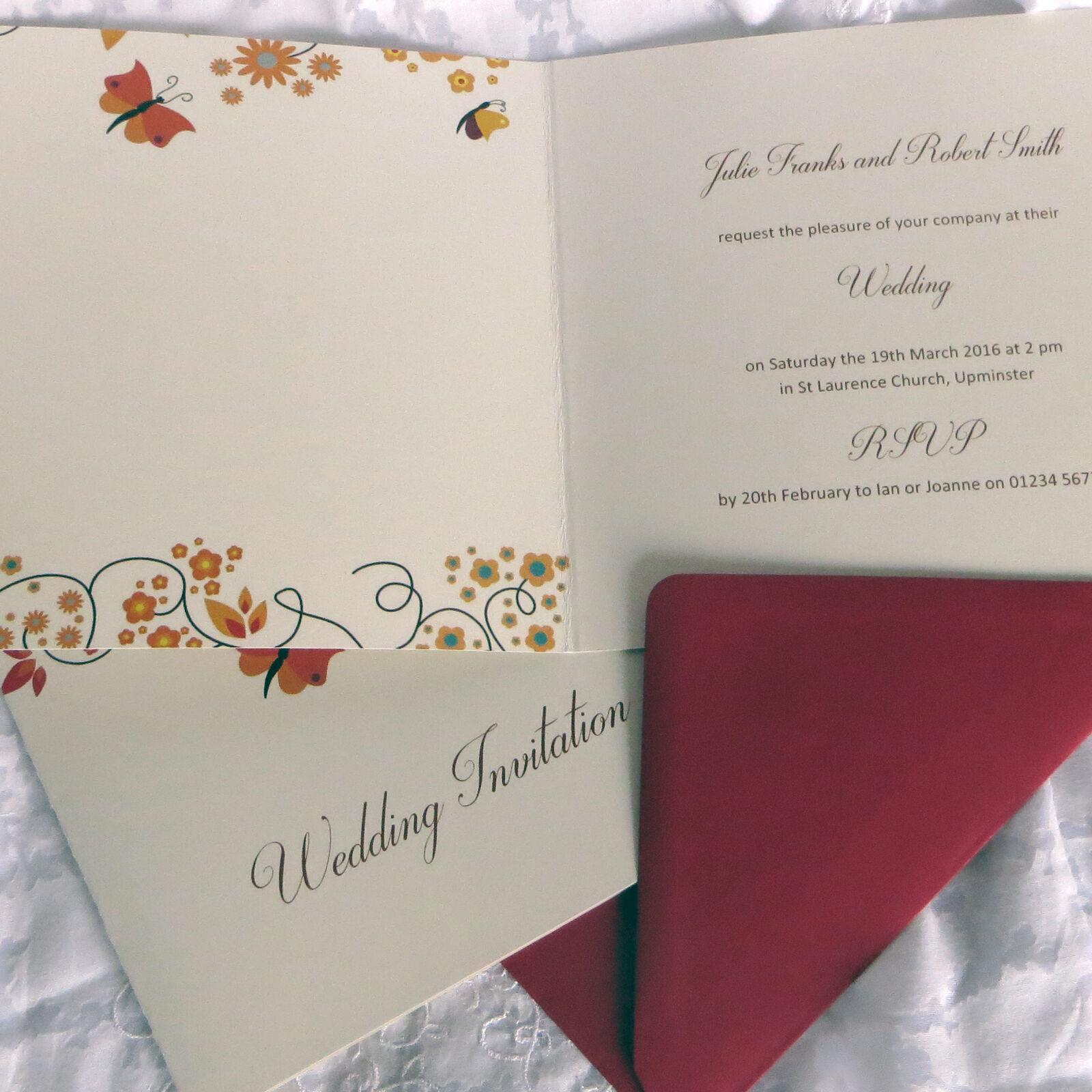 Personnalisé mariage invitations invitations invitations plié 150mm carré complet avec enveloppes   Une Performance Fiable  8f6f10