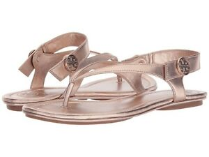 39b9e997d559 Tory Burch Minnie Metallic Flat Travel Sandal in Rose Gold. sz 7M