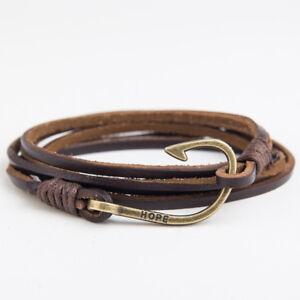 Genuine-Leather-Bracelet-Wrap-Rope-Fish-Hook-Brown-Black-Man-Fashion-Wristband