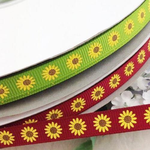 "10 Yd 3//8/"" Mix Couleur Gros-Grain Ruban tournesols mariage artisanat Appliques environ 9.14 m"
