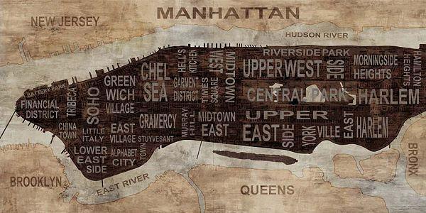 Luke Wilson  Manhattan Neighborhoods Keilrahmen-Bild Leinwand New York Stadtplan