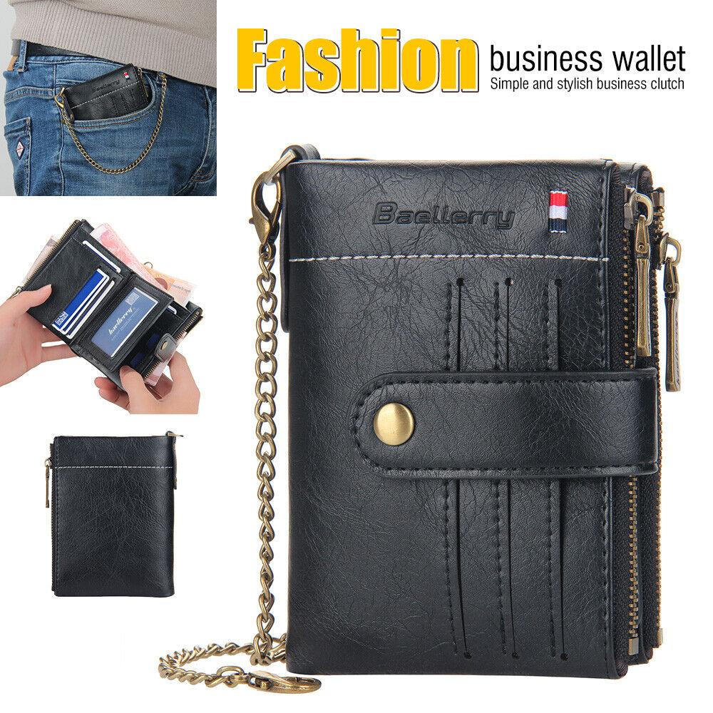 Men Bifold Leather Zip Coin Wallet Multi Card Holder Purse Clutch Handbag Chain