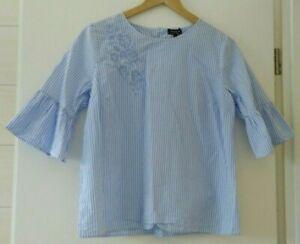 Bluse Gr.40 hellblau - weiß gestreift   Kurzarm mit Volants 100%Baumwolle