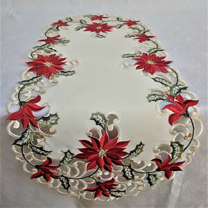 Doily Boutique Table Runner, Doily, Mantel Scarf with Christmas Red Poinsettia