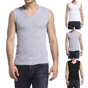 Herren-Achsel-Shirt-Muskelshirt-Armellos-Tops-Tank-Unterhemd-achselshirt-Hot-hot