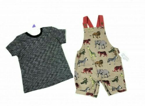 Ex Nutmeg Baby Boys Safari Animals Dungarees /& Top Outfit N//B 0 1 3 6 9 12 18 24