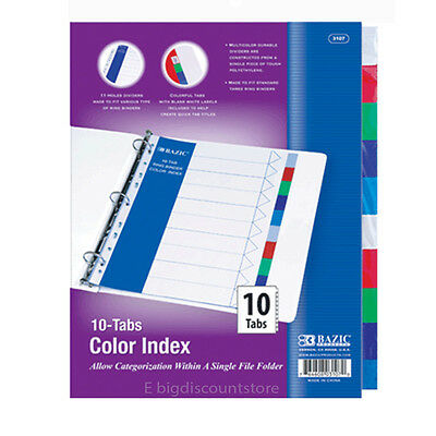 Lot of 2 Packs BAZIC 3-Ring Binder Dividers with 10 Color Tabs Brand New -3107