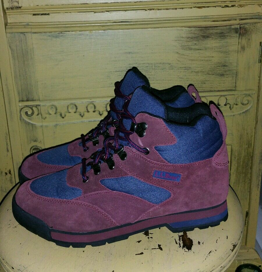 LL BEAN BURGUNDY blueE HIKING BOOTS TRAIL  MOUNTAINEERING MENS 7 LADIES 8 M  for wholesale