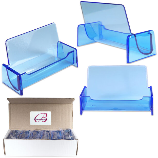 12pc HQ Acrylic Plastic Business Name Card Holder Display Stand (CLEAR BLUE)