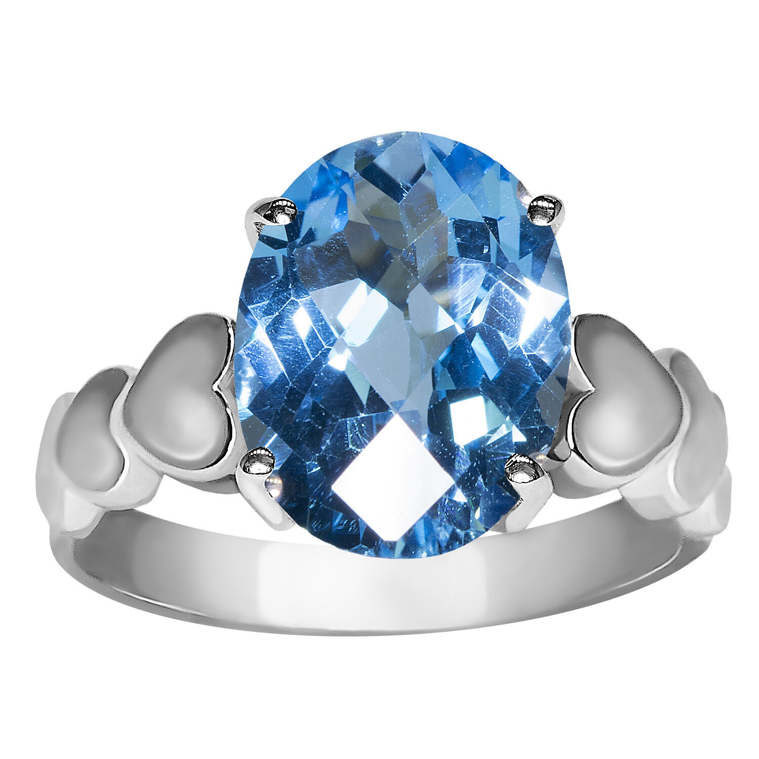Beautiful bluee Topaz with Heart Designed Shank Fashion Ring in 10k White gold