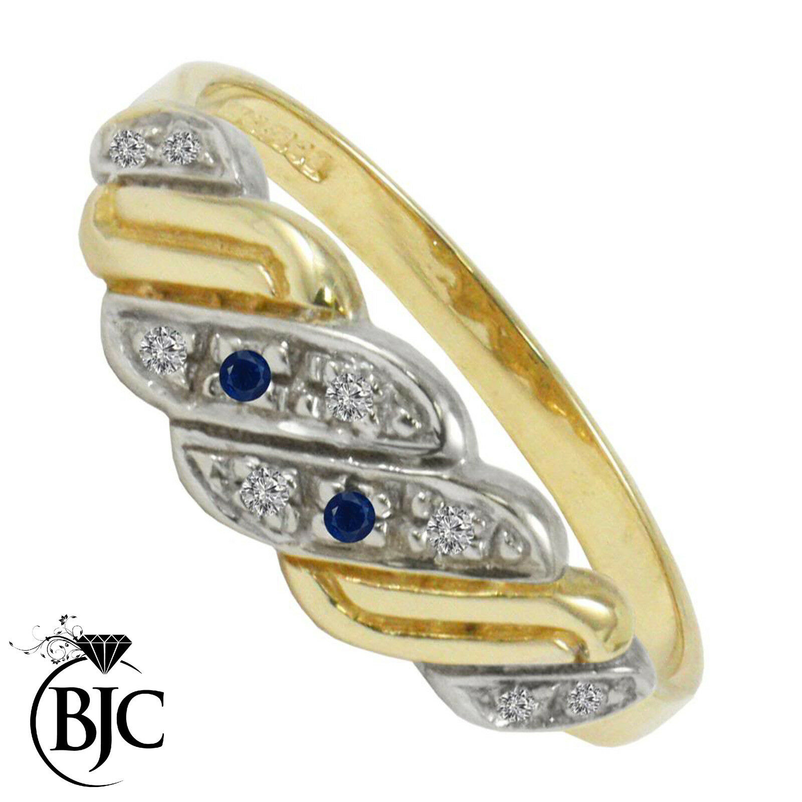 Bjc 9Ct gold yellow Zafiro y Diamante Gitano size M Compromiso