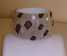 Acrylic Rhinestone Animal Print Bangle Bracelet