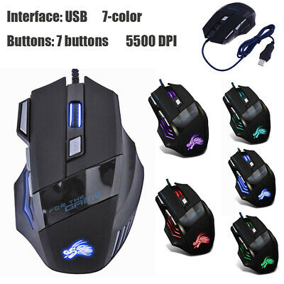 5 Button USB Wired LED Breathing Gaming Mouse Fire Button 3200 DPI for Laptop PC