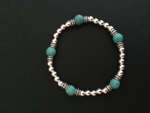 Sterling Bracelet. Sterling Silver Stretch Bracelet Turquoise Gemstone Beads