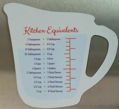 Kitchen Equivalent Teaspoons Tablespoons Cups Fluid Ounces Gallons Quarts Pints 639277293909 Ebay