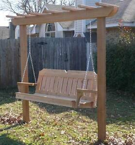 New Cedar Wood Garden Arbor Amp 6 Ft Porch Swing Stand Heavy