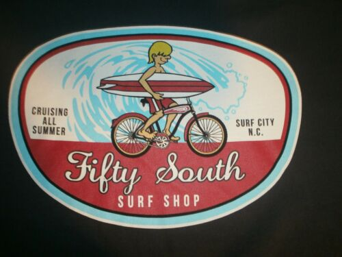 FIFTY SOUTH SURF SHOP CRUISING ALL SUMMER SURF CITY N.C SURFBOARD FRONT LOGO