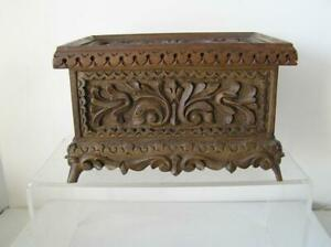 Antique-Folk-ART-Wood-Carved-Footed-Box-intricately-CARVED-with-Original-Label