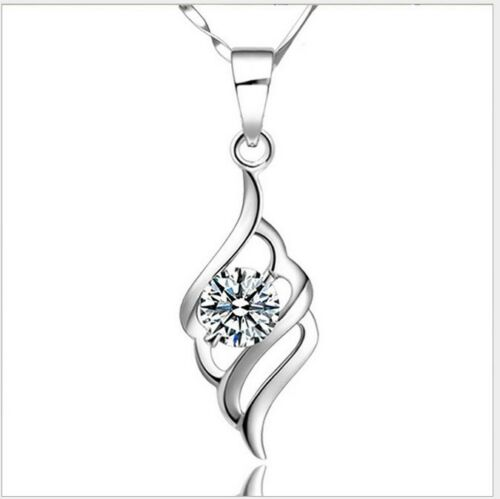 """18/"""" Sterling Silver Cubic Zirconia Angel Wing Pendant Necklace Chain Gift Box H4"""