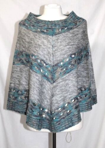 Paa S NWOT Gray & Blue Variegate Striped SemiOpen Weave Poncho Sweater