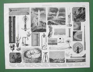 METEOROLOGY-Instruments-Lightning-Rod-Mirage-Rain-Original-Print-Engraving