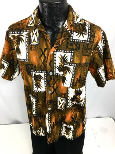 Vtg 50's Hukilau Men Brown Gold TRIBAL TIKI Hawaii