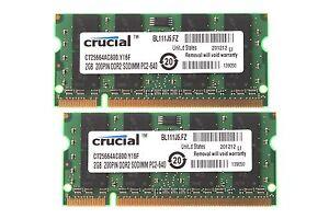 Crucial-RAM-4GB-2x-2GB-PC2-6400-Laptop-Sodimm-Memory-DDR2-800MH-z-200pin-9H