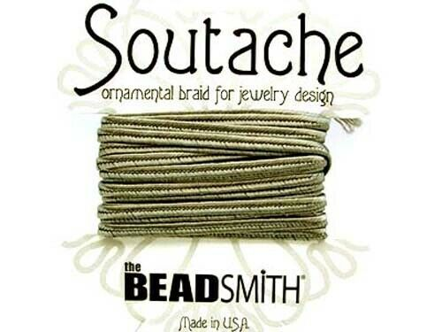 3mm wide grey 3 yds Beadsmith soutache rayon flat braided cord Smog