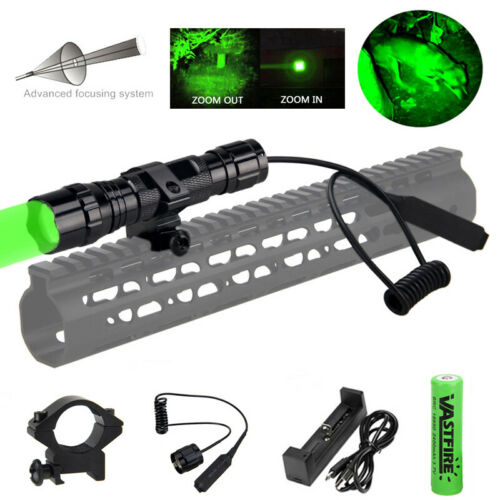 300 Yard Hunting Torch Zoomable Green Flashlight Predator Varmint Hog Light Lamp