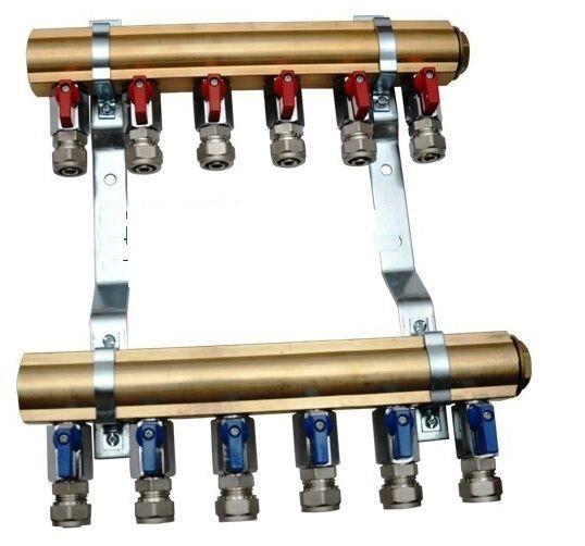 Colector 7 salidas 1  + vannes bola para tubo Pex calefacción por la sol