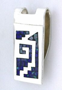 1 1/2 x 7/10 Inch Abstract Lapis Turquoise Inlay Sterling Silver Money Clip